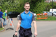 AFC Wimbledon goalkeeper George Long (1) arriving during the EFL Sky Bet League 1 match between AFC Wimbledon and Oldham Athletic at the Cherry Red Records Stadium, Kingston, England on 21 April 2018. Picture by Matthew Redman.
