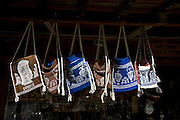 Greece, Epirus, Metsovo, Souvenir shop selling woollen bags