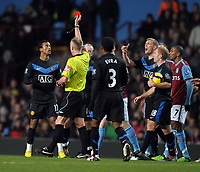 Nani is shown the Red Card by Referee P Walton<br /> Manchester United 2009/10<br /> Aston Villa V Manchester United 10/02/10<br /> The Premier League<br /> Photo Robin Parker Fotosports International