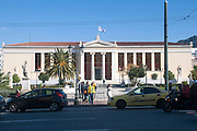 Exterior of the National and Kapodistrian University of Athens, part of the architectural trilogy designed by Danish architect Theopil Hansen, Athens, Greece