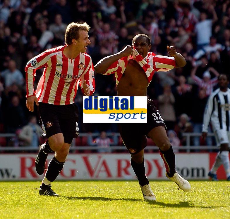 Photo: Jed Wee.<br />Sunderland v Newcastle United. The Barclays Premiership. 17/04/2006.<br /><br />Sunderland's Justin Hoyte (R) celebrates with Chris Brown after scoring the opening goal.