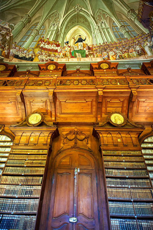 The Archdiocesan Library Eger in Lyceum, built by Count Karoly Eszterhazy with the ceiling fresco of the Tridentine council by Janos Lukacs Kracker. Eger Hungary .<br /> <br /> Visit our HUNGARY HISTORIC PLACES PHOTO COLLECTIONS for more photos to download or buy as wall art prints https://funkystock.photoshelter.com/gallery-collection/Pictures-Images-of-Hungary-Photos-of-Hungarian-Historic-Landmark-Sites/C0000Te8AnPgxjRg