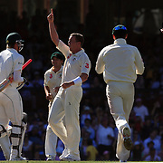 Australian bowler Peter Siddle celebrates after taking the wicket of South African batsman Paul Harris. Siddle finiished with figures of 5-59 during day three of the third test match between Australia and South Africa at the Sydney Cricket Ground on January 5, 2009 in Sydney, Australia. Photo Tim Clayton