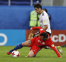 July 3, 2017 - Saint Petersburg, Russia - Gary Medel (L) of Chile national team and Lars Stindl of Germany national team vie for the ball during FIFA Confederations Cup Russia 2017 final match between Chile and Germany at Saint Petersburg Stadium on July 2, 2017 in Saint Petersburg, Russia. (Credit Image: © Mike Kireev/NurPhoto via ZUMA Press)