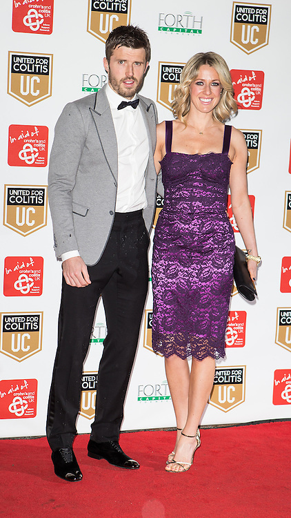© Licensed to London News Pictures . 27/03/2014 . Manchester , UK . Michael Carrick arrives at a gala dinner at Manchester United Football Club in support of United for Colitis , in aid of Crohn's And Colitis UK . Photo credit : LNP
