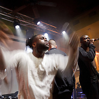 Picture shows :<br /> Alloysious Massaquoi,  Kayus Bankole and 'G' Hastings of Edinburgh band Young Fathers pictured in Austin, Texas at The Creative Scotland showcase at the British Music Embassy at Latitude just off 6th street in downtown Austin.<br /> Picture  © Drew Farrell<br /> 14th March 2014<br /> Creative Scotland is supporting a Scottish music showcases at South by South West (SxSW), the world's most prestigious international showcase for contemporary music.  <br /> SxSW is one of the largest and most important events in the music industry calendar and recognised as providing an important platform for artists to develop their careers internationally.