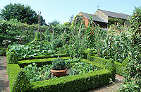 large vegetable garden with clipped box hedges