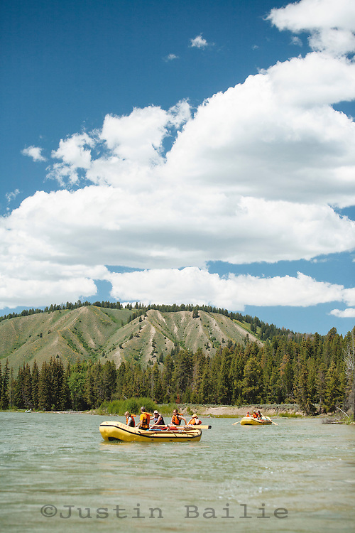 Rafting down the Snake River in Grand Teton National Park, WY.