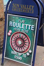 Sign outside amusement arcade