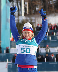 PYEONGCHANG, Feb. 15, 2018  Ragnhild Haga from Norway celebrates after finishing women's 10KM free event of country skiing at Pyeongchang 2018 Winter Olympic Games at Alpensia Cross-Country Centre, PyeongChang, South Korea, Feb. 15, 2018. Ragnhild Haga claimed champion in a time of 25:00.5. (Credit Image: © Bai Xuefei/Xinhua via ZUMA Wire)