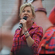 24 July 2021, Trafalgar London. Speaker Katie Hopkins in London to oppose covid vaccines and government restrictions, London, UK.