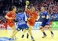 Håndball<br /> NM-finale menn senior 2011<br /> Drammen v Haslum<br /> 30.12.2011<br /> Foto: Peter Tubaas, Digitalsport<br /> NORWAY ONLY<br /> <br /> Erlend Mamelund (11) -  Einar Riegelhuth Koren - Haslum<br /> Gøran Sørheim (22) - Henrik Jakobsen - Drammen