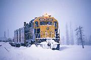 Alaska. Alaska Railroad travels through all conditions, winter.