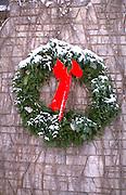 Residential Christmas wreath decoration. St Paul Minnesota USA