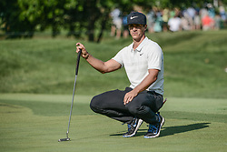 August 10, 2018 - Town And Country, Missouri, U.S - THORBJORN OLESEN from Denmark lines up his putt on the fourth green during round two of the 100th PGA Championship on Friday, August 10, 2018, held at Bellerive Country Club in Town and Country, MO (Photo credit Richard Ulreich / ZUMA Press) (Credit Image: © Richard Ulreich via ZUMA Wire)