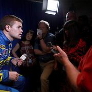 Driver Ricky Stenhouse Jr. speaks with the media about him dating NASCAR driver Danica Patrick,  during the NASCAR Media Day event at Daytona International Speedway on Thursday, February 14, 2013 in Daytona Beach, Florida.  (AP Photo/Alex Menendez)