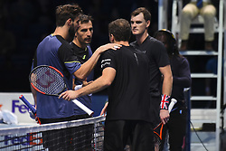 November 15, 2017 - London, England, United Kingdom - Jamie Murray of Great Britain and Bruno Soares of Brazil shake hands after victory during their Doubles match against Ivan Dodig of Croatia and Marcel Granollers of Spain on day four of the Nitto ATP World Tour Finals at O2 Arena, London on November 15, 2017. (Credit Image: © Alberto Pezzali/NurPhoto via ZUMA Press)