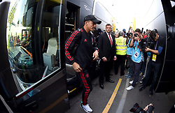 Manchester United's Alexis Sanchez arrives at the Stadium prior to the beginning of the match