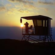 Silhouette of a Lifeguard in Huntington Beach, California