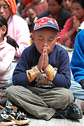 India, Ladakh region state of Jammu and Kashmir, Leh, local people in an outdoor prayer