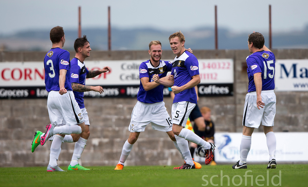 East Fife's Jonathan Page (5) celebrates after scoring their goal. <br /> Half time : East Fife 1 v 1 Elgin City, Ladbrokes Scottish Football League Division Two game played 22/8/2015 at East Fife's home ground, Bayview Stadium.