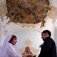 Wedding ceremony of Gabor Papai and Csilla Toth in Tatabanya.