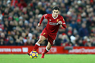 Philippe Coutinho of Liverpool in action. Premier League match, Liverpool v Leicester City at the Anfield stadium in Liverpool, Merseyside on Saturday 30th December 2017.<br /> pic by Chris Stading, Andrew Orchard sports photography.