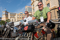 Bill Page (L) of Kansas on his 1915 Harley-Davidson beside Kelly Modlin also of Kansas on his 1914 Excelsior on the Atlantic City boardwalk at the start of the Motorcycle Cannonball Race of the Century. Stage-1 from Atlantic City, NJ to York, PA. USA. Saturday September 10, 2016. Photography ©2016 Michael Lichter.
