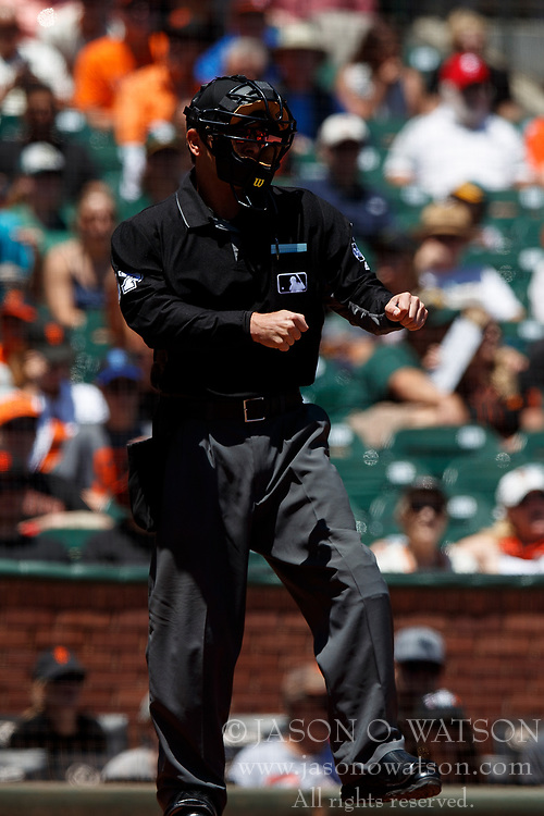 SAN FRANCISCO, CA - JULY 15: MLB umpire Ben May #97 calls a third strike during the first inning between the San Francisco Giants and the Oakland Athletics at AT&T Park on July 15, 2018 in San Francisco, California. The Oakland Athletics defeated the San Francisco Giants 6-2. (Photo by Jason O. Watson/Getty Images) *** Local Caption *** Ben May