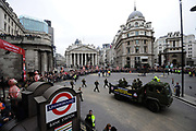 The Lord Mayors show London. Military procession goes past Bank Station in the City.