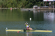 Lucerne, SWITZERLAND, 15th July 2018, Sunday Women's Single Scull Final A, SUI W1X,  Jeannine GMELIN, winning the Gold Medal, at the ,FISA World Cup III Lake Rotsee, © Peter SPURRIER,
