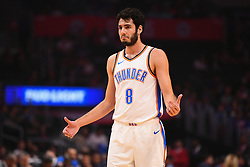 October 19, 2018 - Los Angeles, CA, U.S. - LOS ANGELES, CA - OCTOBER 19: Oklahoma City Thunder Guard Alex Abrines (8) looks on during a NBA game between the Oklahoma City Thunder and the Los Angeles Clippers on October 19, 2018 at STAPLES Center in Los Angeles, CA. (Credit Image: © Brian Rothmuller/Icon SMI via ZUMA Press)