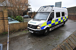 © Licensed to London News Pictures. 05/03/2017<br /> POLICE VAN NEXT TO PARK ENTRANCE.<br /> Police have sealed off the park from the Broadway and the seafront down to the sea.<br />  The body of a baby has been found on small piece of park land at the back of Sheerness Swimmimg Pool near the Broadway, Sheerness next to St Henry and St Elizabeth Church.<br /> Photo credit :Grant Falvey/LNP