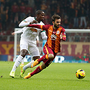Galatasaray's Emre Colak (R) during their Turkish Super League soccer match Galatasaray between Akhisar Belediye Genclik ve Spor at the AliSamiYen Spor Kompleksi TT Arena at Seyrantepe in Istanbul Turkey on Saturday, 06 December 2014. Photo by Aykut AKICI/TURKPIX