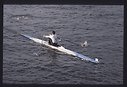 London. United Kingdom.  Jim GARMAN 1990 Scullers Head of the River Race. River Thames, viewpoint Chiswick Bridge Saturday 07.04.1990<br /> <br /> [Mandatory Credit; Peter SPURRIER/Intersport Images] 19900407 Scullers Head, London Engl