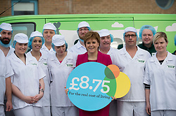 First Minister Nicola Sturgeon visits famous porridge makers Stoats at their factory outside Edinburgh, as they are Scotland's 1000th living wage employer. <br /> <br /> Pictured: Nicola Sturgeon with workers and apprentices from Stoats.<br /> <br /> © Dave Johnston/ EEm