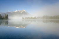 Petit Lake in clearing morning fog, Sawtooth National Recreation Area Idaho