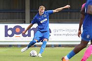 AFC Wimbledon striker Joe Pigott (39) with a shot on goal during the Pre-Season Friendly match between AFC Wimbledon and Queens Park Rangers at the Cherry Red Records Stadium, Kingston, England on 14 July 2018. Picture by Matthew Redman.