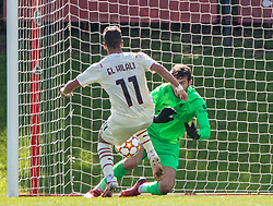 LIVERPOOL, ENGLAND - Wednesday, September 15, 2021: Liverpool's goalkeeper Harvey Davies  makes a save from AC Milan's Youns Gabriele El Hilali during the UEFA Youth League Group B Matchday 1 game between Liverpool FC Under19's and AC Milan Under 19's at the Liverpool Academy. Liverpool won 1-0. (Pic by David Rawcliffe/Propaganda)