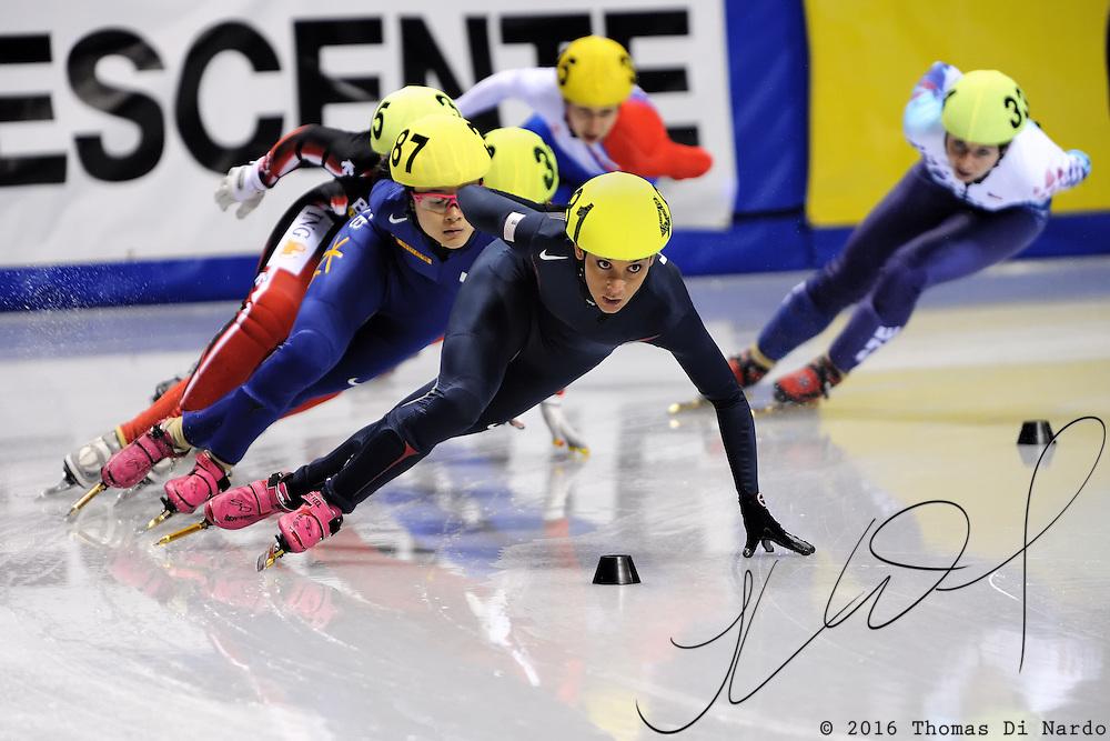 2008 World Cup Short Track - Vancouver - Allison Baver (USA) leads 1000m Ladies Semi-Final 1.