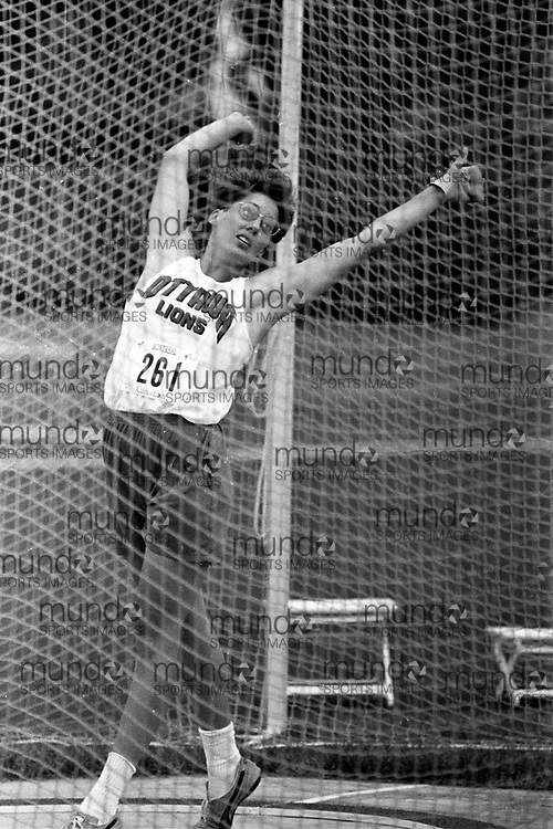 (Montreal, Canada --- 25 July 1991) Cathy Griffin in the hammer throw at the 1991 Canadian National Track and Field Championships held at the Complexe sportif Claude-Robillard in Montreal. Photo 1991 Copyright Sean Burges / Mundo Sport Images. ******This is an unprocessed scan from the negative. You can buy it as is and clean it up yourself, or contact us for rates on providing the service for you. *******