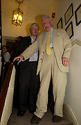 Boris Johnson and Paul Johnson. Spectator party. Doughty St. London. 28 July 2005. ONE TIME USE ONLY - DO NOT ARCHIVE  © Copyright Photograph by Dafydd Jones 66 Stockwell Park Rd. London SW9 0DA Tel 020 7733 0108 www.dafjones.com