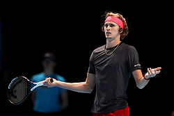 Alexander Zverev appears frustrated during the men's singles match during day six of the Nitto ATP Finals at The O2 Arena, London. PRESS ASSOCIATION Photo. Picture date: Friday November 16, 2018. See PA story TENNIS London. Photo credit should read: John Walton/PA Wire. RESTRICTIONS: Editorial use only, No commercial use without prior permission.