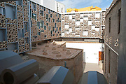 Abstract patterned wall in ceramic tile museum, Centro Ceramica, Triana, Seville, Spain