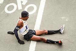 ING New York CIty Marathon: Meb Keflezighi on ground after finishing race