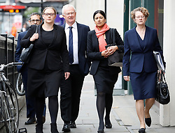 © Licensed to London News Pictures. 24/04/2017. London, UK. L to R Solicitors RUSSELL LEVY, ANNA CROWTHER, MARTYN DAY, SAPNA MALIK and FRANCES SWAINE arrive at the Solicitors Disciplinary Tribunal in central London where they face disciplinary proceedings following claims by the Ministry of Defence that Leigh Day solicitors took part in ambulance-chasing over false compensation claims for the torture of Iraqi citizens. Photo credit: Peter Macdiarmid/LNP