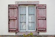 Typical Basque shuttered window in town of Oroz Betelu in Navarre, Northern Spain
