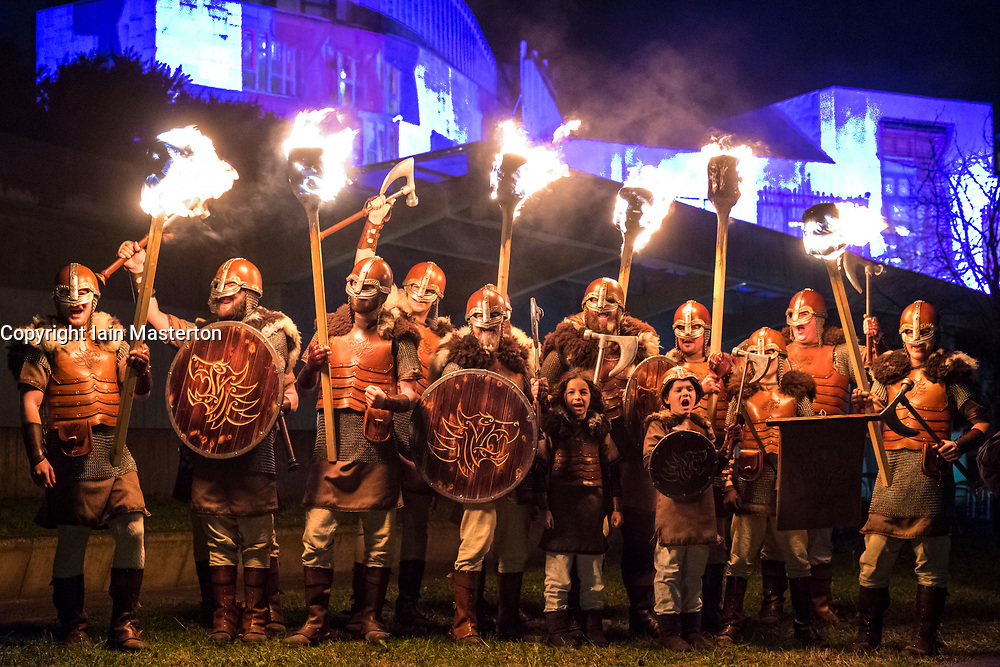 Edinburgh, Scotland,United Kingdom. 30 December, 2017. Members of legendary Up Helly Aa Vikings from Shetland, in full costume and with flaming torches before Torchlight Procession which forms one part of Edinburgh's Hogmanay celebrations.