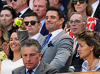 Tennis - 2017 Wimbledon Championships - Week One, Friday [Day Five]<br /> <br /> Womens Singles Third Round match<br /> Heather Watson (GBR) v Victoria Azarenka (BLR) <br /> <br /> New Zealand Rugby Legend, Dan Carter throws the Tennis back  which had landed in the Royal Box on Centre court <br /> <br /> COLORSPORT/ANDREW COWIE