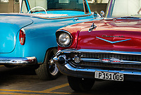 HAVANA, CUBA - CIRCA JANUARY 2020: Detail of old  classic cars in Havana.